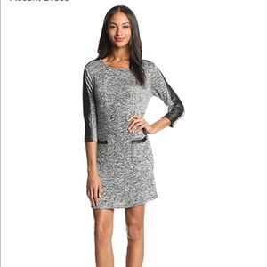 🍂 Grey Long-Sleeve Knit Faux Leather Dress